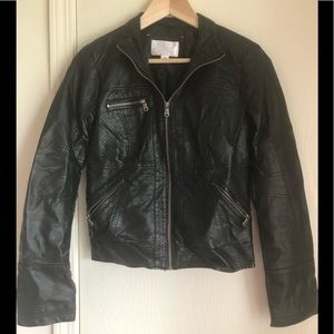 Black faux leather jacket size M